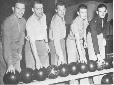 "N.J. Lypps , J.W. Kelly , R.C. Templeton , H.H. Clark , and R. L. Pringle, of ""L"" Flight put on a burst of speed and come from behind to win the Thunderbird Bowling League."