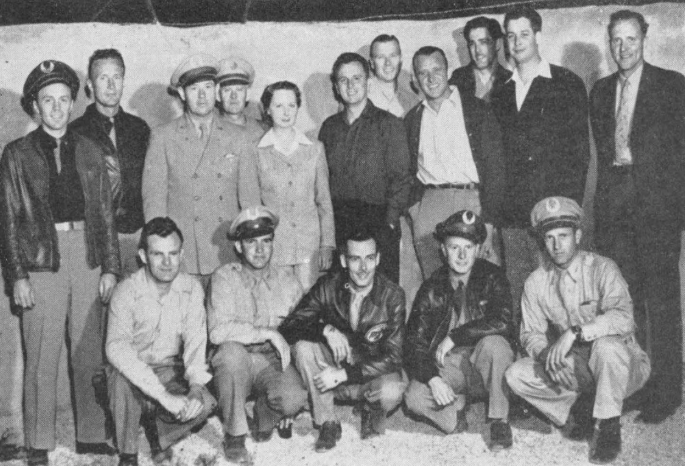 Charlie Jenkins' Squadron 8 was a repeated winner at Thunderbird's series of safety contests. Pictured at the dinner party given winners each month are squadron members, left to right back row : Raymond Dinsen , Edmund Pillsbury , Dr. J. Gordon Shackelford , Harry Findley , Mrs. Cassette Flyn, squadron dispatcher ; Robert Kersting , Jerry Buckman, John L. Jones , Thomas G. Smith , Walter J. Morris and Conrad Wade. Front row : Charles Jenkins, Caldwell Mothershed , John Bensley , Richard Swingler and Bud Trott