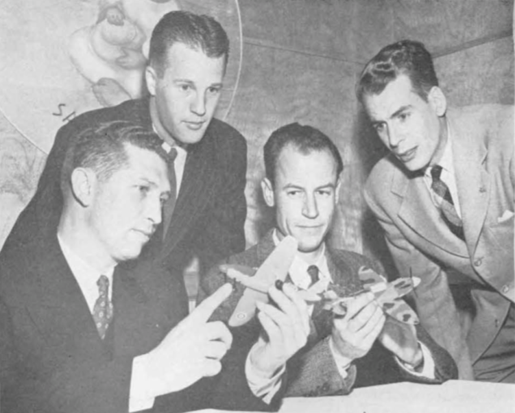 Ground school instructors from the four fields at a dinner party. Left to right seated : Tom Wardell of Thunderbird II and Page Deuel of Sky Harbor; standing, John Neace of Thunderbird and john Bonnell of Falcon .