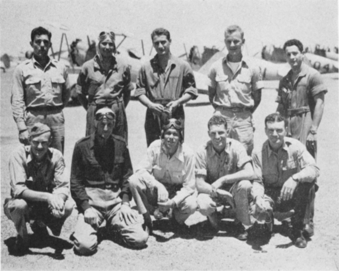 Best safety record for Thunderbird II's Class 43-J was compiled by these ten flight instructors, in the first of regular intra-field safety competitions. Left to right, front row : Assistant Squadron Commander John Severson , Bill jones, Squadron Commander Marshall Christensen , Bob Hanna and Dick King . Back row: George Goforth , Adrian Brix , Yale Feniger , Bud Haberl and William Rosecrans.