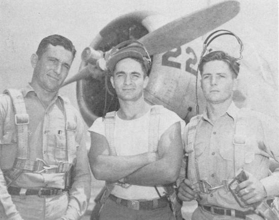 Three brothers, Art (left), Paul and Dink Robart were on Southwest's rolls as Flight instructors. Art was at Thunderbird, while his other two brothers were at Falcon. Art, 28 at the time, had flown about 1,000 hours during his 14 months with the company ; Paul, 24, had about 1,600 hours during his slightly more than two years with Southwest; and Dink, 26, had been in the airdrome than 1,500 hours during his two years' employment. Art first learnt to fly in 1935. Later him and Paul bought and old OXS Swallow TP, and in 1940, the three boys became proficient flyers- they had to, the way the old crate conked out on them at the most unexpected times. They were one of many Southwest families.