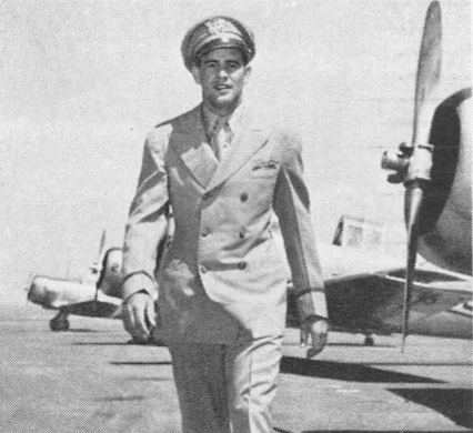 All dolled up in his new instructors' uniform was Fred Merha , advanced pilot at Falcon Field. Uniformed instructors were a recent innovation.