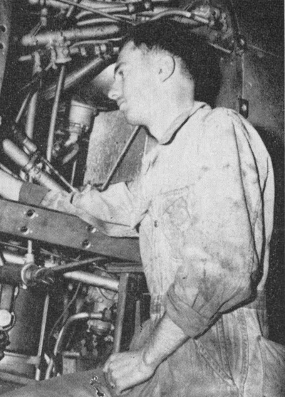 "A most ambitious person was Don Bell, 23, Falcon Flight instructor , who worked four hours a day as a mechanic in the field's advanced hangar. Bell, who had been an instructor at Falcon since July 1943, was working as a mechanic in his time off from instructing since the last 4 months ( at January 1944 ). "" I puttee extra money I earn from this spare-time work into the purchase of war bonds"", Bell said."