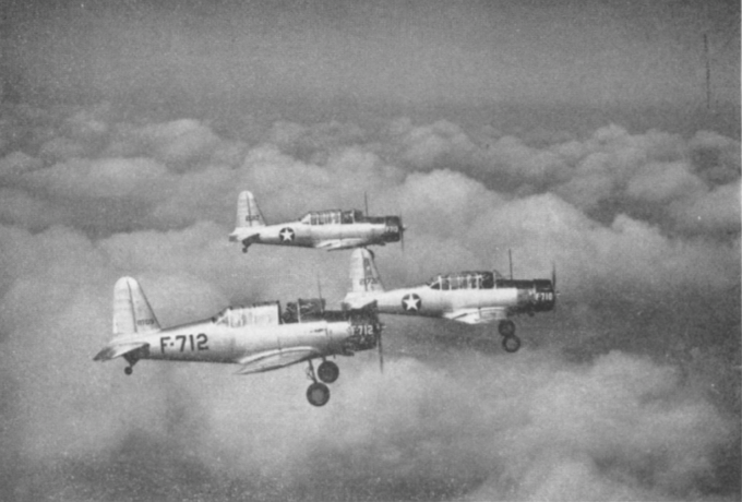 Student pilots and instructors fly a three ship Vee formation near A.A.F. Basic pilot school at Gardner Field. This formation looks easy, but isn't . It's an exhibition type maneuver flown in rigid position to instill discipline.