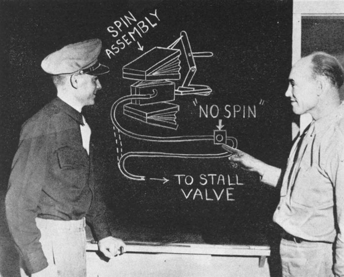 "Melvin K. Lyster, Chief Link instructor (left), and George L. Cooper, maintenance chief, at Falcon Field point to a drawing of the mechanism which they have installed on their trainers to eliminate "" initial spin""."