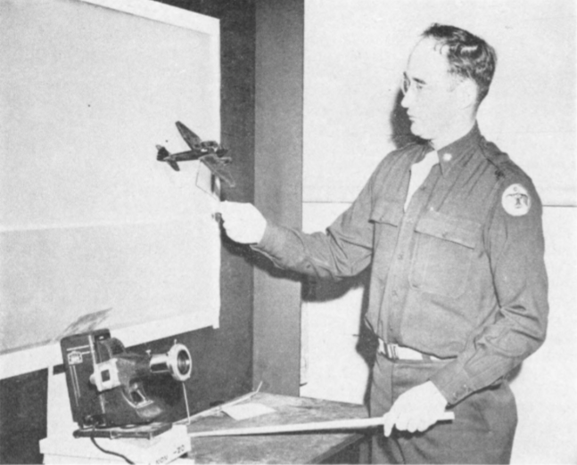 The shadowgraph, designed by Thunderbird II ground school instructors, facilitates aircraft recognition by cadets. Classroom lights can actually be left on without dimming the image so students can take notes.